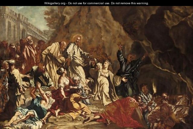 The Raising Of Lazarus - (after) Francesco Solimena