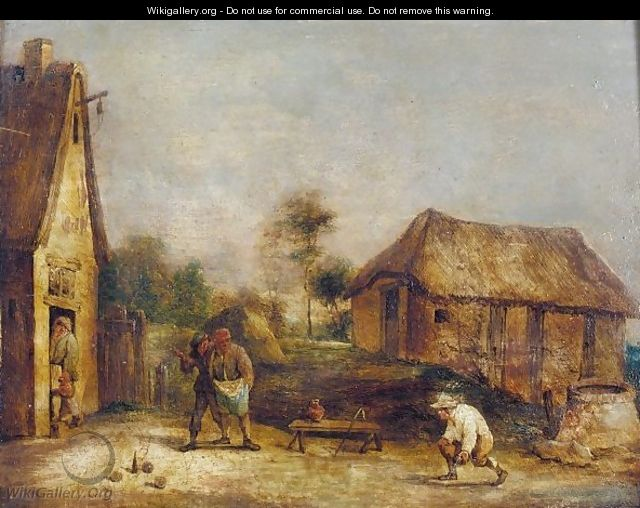 A Landscape With Boors Playing Skittles - (after) David The Younger Teniers