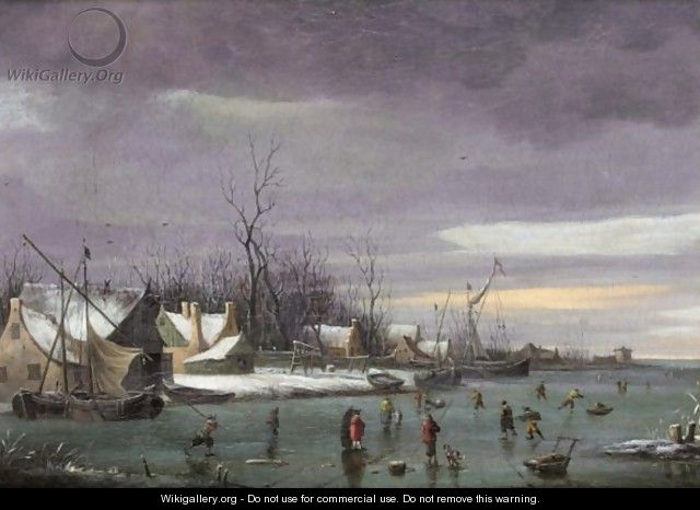 A Winter Landscape With Skaters On A Frozen River - Dutch School