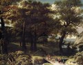 A Wooded Landscape With Drovers And Animals Crossing A Bridge - (after) Jan Looten