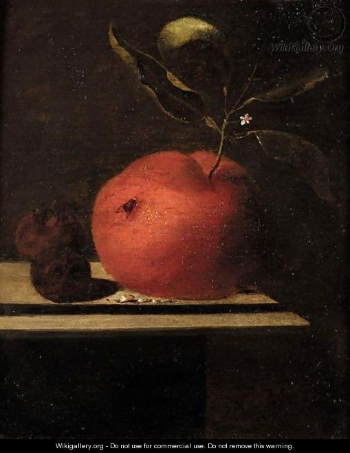A Still Life Of An Orange And Two Medlars Upon A Ledge - Marten Nellius