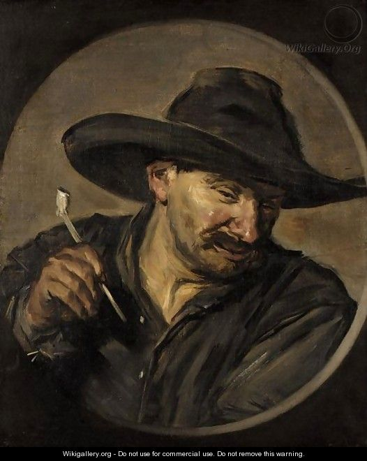 A Man In A Hat, Holding A Pipe - (after) Frans Hals
