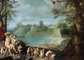 Mars And Venus In An Extensive River Landscape With Putti Playing And Dancing - (after) Paul Bril
