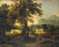 A Wooded Landscape With Figures - Achille-Etna Michallon