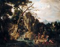 A Mountainous Landscape With Figures Fishing And Resting By A Stream - (after) Francesco Zuccarelli