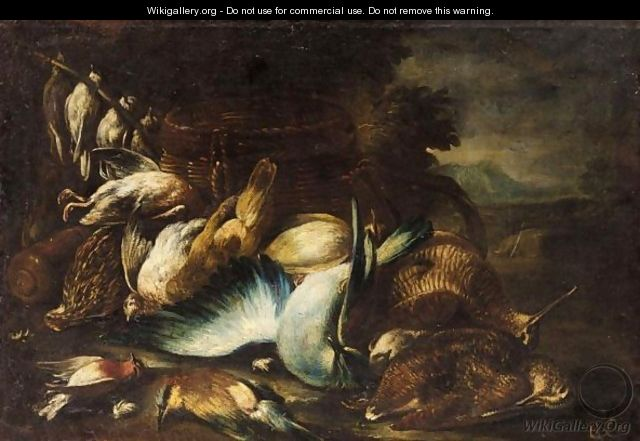 A Still Life With A Woodcock And Other Birds In A Landscape - Baldassare de Caro