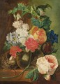 A Still Life With Roses And Other Flowers In A Glass Vase, Together With A Bird's Nest All Resting On A Stone Ledge - (after) Jan Van Os