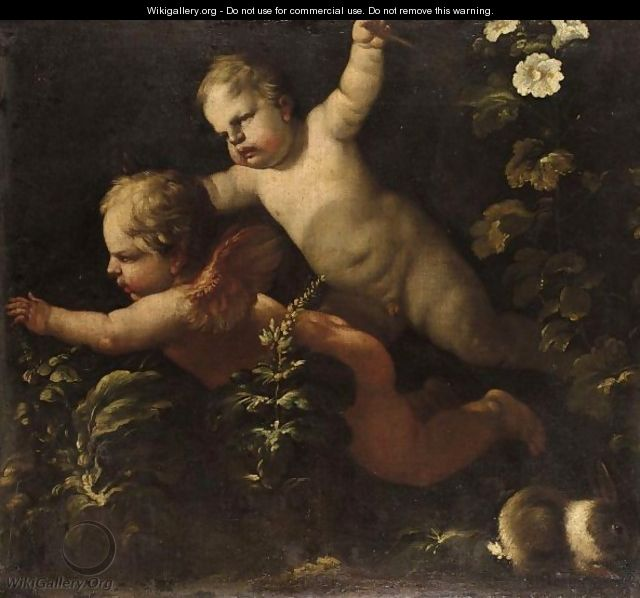 Two Putti - (after) Luca Giordano