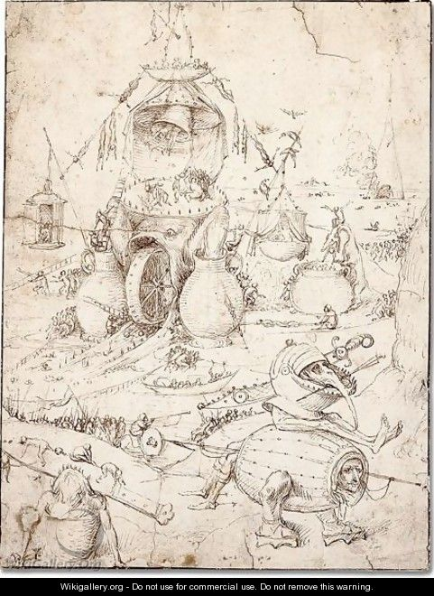 A Hell scene with a fish-monster with a wheel in its mounth - (after) Hieronymus Bosch