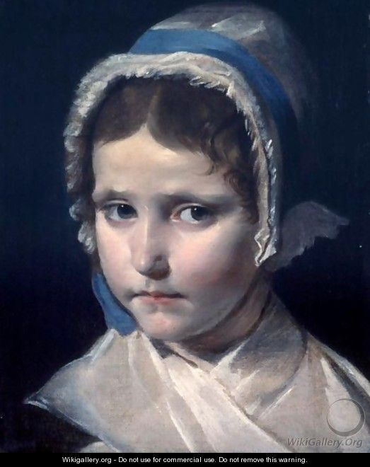 Portrait Of A Young Girl Wearing A Bonnet - French School
