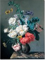 A bouquet of flowers on marble ledge - Jacques Carrey