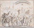 An audience watching a performance in a town square, with a vision of a crown apperaing in the sky above - (after) Jan Luyken