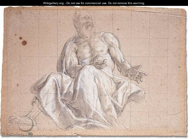 Study of a seated Prophet - Bolognese School