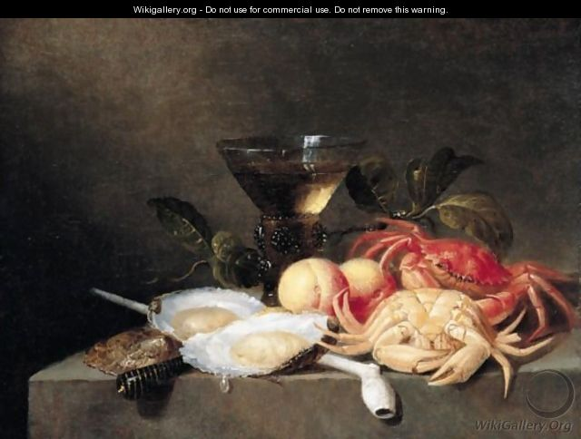 A Still Life Of Crabs, Oysters, Apricots, A Roemer, And A Pipe, All Upon A Stone Ledge - Theodoor Smits