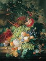 A Still Life Of Fruit In A Basket With Flowers And Other Fruit, All Upon A Marble Ledge Before An Urn And Column - Jan Van Huysum