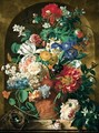 A Still Life Of Flowers In A Terracotta Vase Upon A Marble Ledge Before A Niche - Jan Van Huysum