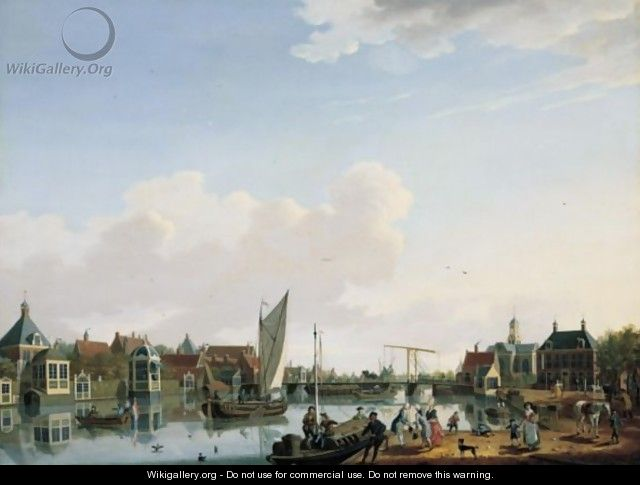 Ouderkerk, Near Amsterdam, A View From The West Bank Of The River Amstel Looking Upstream Towards The Village - Isaak Ouwater