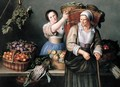 A Market Stall With A Young Woman Giving A Basket Of Grapes To An Older Woman - Louise Moillon