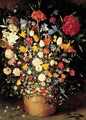 A Still Life Of Roses, Tulips And Other Flowers In A Wooden Tub - Jan, the Younger Brueghel