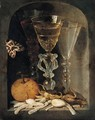 A Still Life Of Three Wine Glasses, An Orange, Sweetmeats, Hazelnuts And A Moth In A Stone Niche - Osias, the Elder Beert