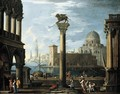 A Capriccio View Of The Molo From The Piazzetta Looking South - (after) Giovanni Ghisolfi