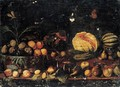 A Still Life Of Figs And Apricots In A Basket, Melons, Figs, Apples, Pears And Plums Arranged On A Ledge - Roman School