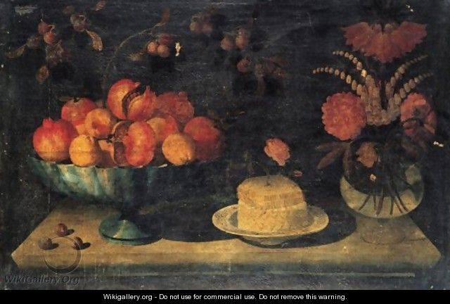 Still Life Of A Bowl Of Pomegranates And Peaches, Together With A White Cheese With A Honeycomb And Rose On A Porcelain Dish - The Pseudo-Hiepes
