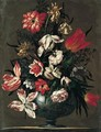Still Life Of Tulips, Roses, Carnations, Chrysanthemums And Daffodils In A Blue And White Ceramic Vase, Upon A Stone Plinth - Francesco Mantovano