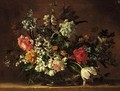 A Still Life Of Flowers In A Glass Vase On A Stone Ledge - Jean-Baptiste Monnoyer