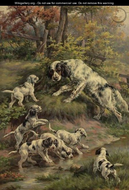 Setter And Her Puppies - Edmund Henry Osthaus