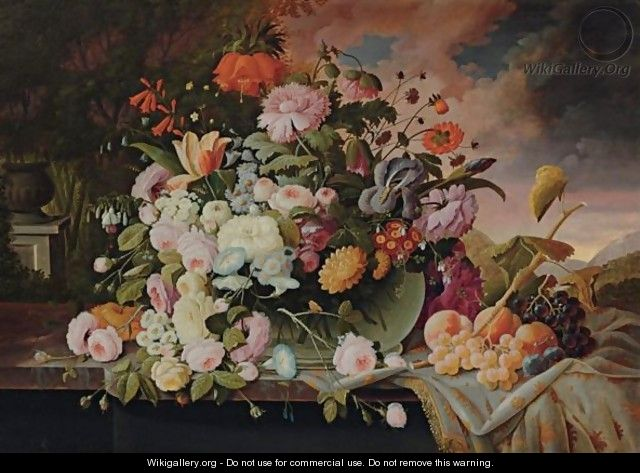 Still Life With Flowers And Fruit In A Landscape - Severin Roesen