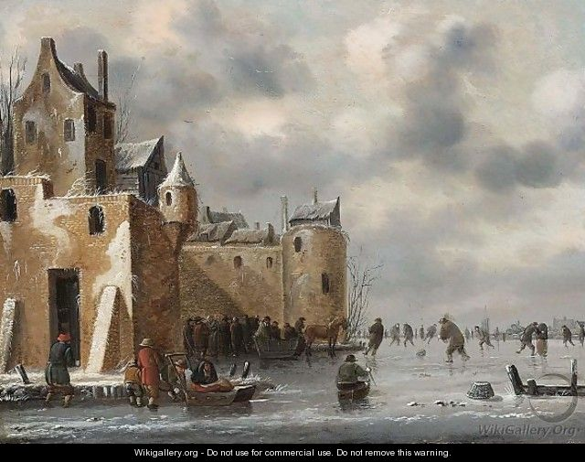 A Winter Landscape With Skaters And A Horse-Drawn Sleigh Near Town Walls - Thomas Heeremans