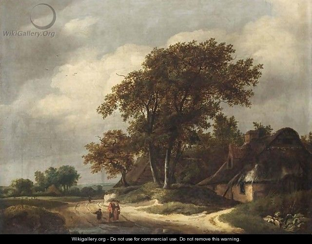 A Wooded Landscape With Two Peasants And A Little Boy Walking Near A Farm - Haarlem School