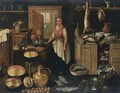 A Kitchen Interior With A Maid, A Still Life Of Pots And Pans And Vegetables In The Foreground - Dutch School