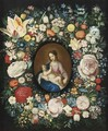 A Garland Of Roses, Tulips And Other Flowers Surrounding A Medallion Of The Virgin And Child - (after) Frans II Francken