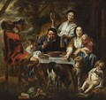 A Peasant Eating Porridge At A Table Together With A Mother And Child And Other Figures Drinking And Eating, Dogs In The Foreground - (after) Jacob Jordaens