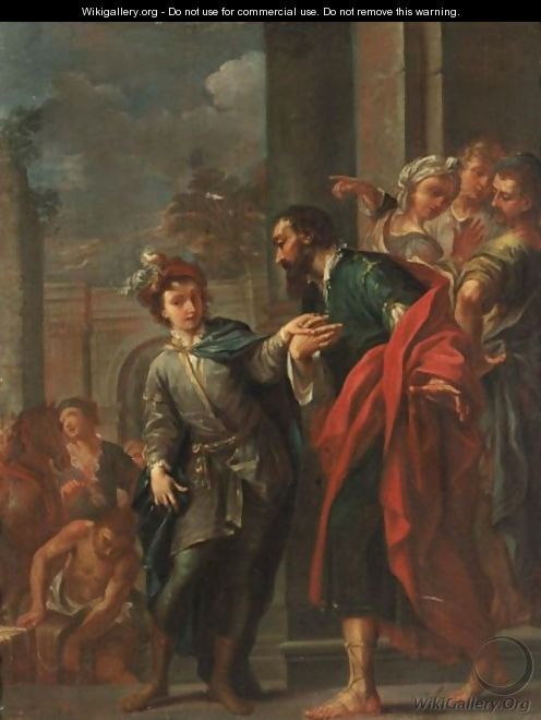 An Historical Scene With A Young Man Holding The Hand Of A Bearded Man, Other Figures In The Background - Austrian School