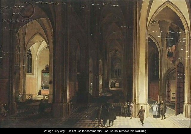 A Church Interior By Night With A Priest And Other Figures By Torchlight - Pieter the Elder Neefs