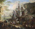 A Mediterranean Harbour Scene With Figures Unloading Merchantmen, Together With Horsemen, An Elephant, Dromedaries And A Ferry In The Foreground, A View Of A Town In The Background - Jan Baptist van der Meiren