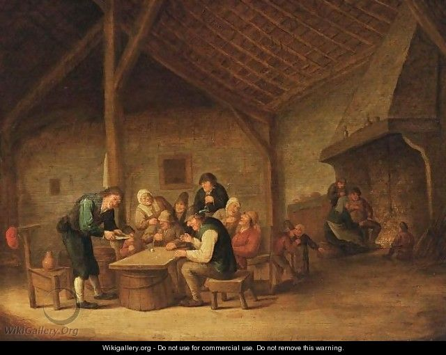 An Interior Of An Inn With Peasants Sitting Around A Table Drinking And Playing Dice, And Figures Near A Fireplace In The Background - Bartholomeus Molenaer