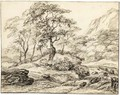 Mountainous Landscape With Trees By Rapids - Dutch School