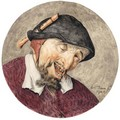Caricature Head Of A Leering Man, A Recorder Tucked Into His Hat - Cornelis Dusart
