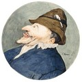 Caricature Head Of A Man With A Pipe In His Hat, Sticking Out His Tongue - Cornelis Dusart