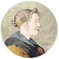 Caricature Head Of A Woman, In Profile - Cornelis Dusart