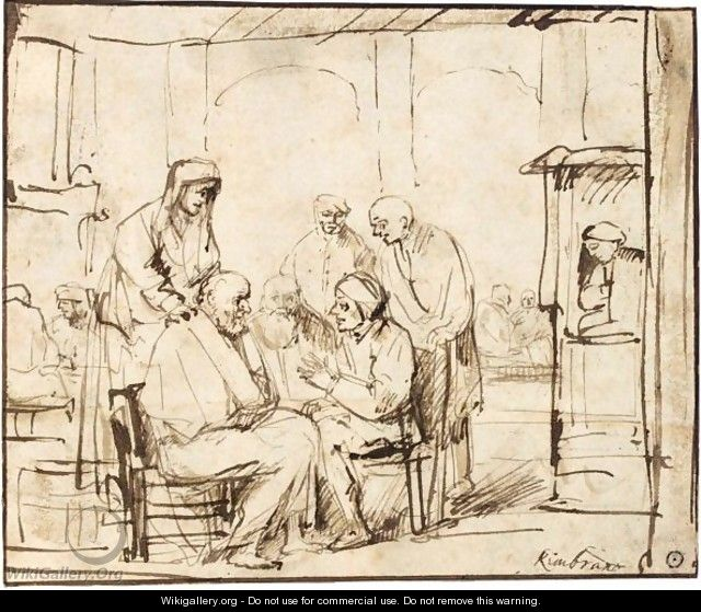 Interior Scene, With Various Seated And Standing Figures In Discussion - Philips Koninck