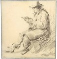 A Man In A Hat, Reading - Arie de Vois