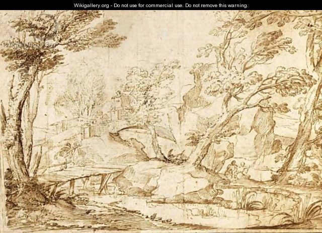 Italianate Rocky Landscape With A Bridge Over A Stream, Two Fishermen Behind - Flemish School