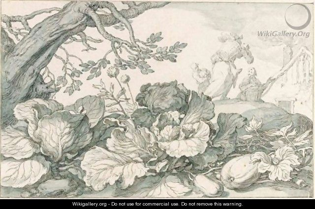 Cabbage And Pumpkins At The Foot Of An Old Tree, In The Background Figures Carrying Vegetables Home - Abraham Bloemaert