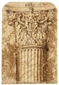 Study Of An Elaborately Decorated Corinthian Capital - French School