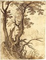 Study Of A Tree On A Rocky Outcrop, Buildings Behind - Paul Bril